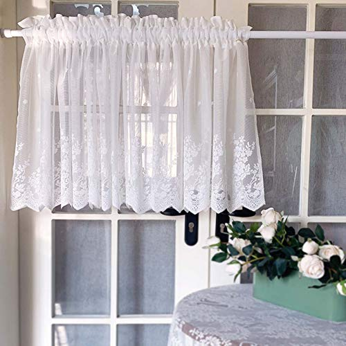GMF Window Curtain For Home Cafe Curtain Valances Small Window Curtains Vintage Floral Pattern With Lace Short Curtains For Small Window Voile Valance Curtains White