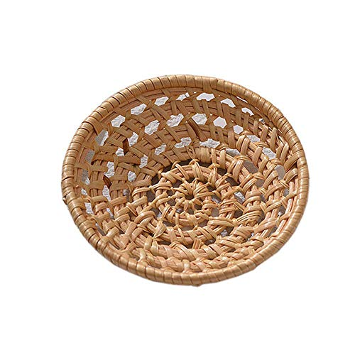 Prom-note Round Rattan Storage Basket, Round Plaited Tray Rattan Storage Bowl Natural Woven Fruit Basket Bowl Handmade Rattan Decorative Bowl Chic Rustic Boho Decor Tableware/Fruit Storage Basket
