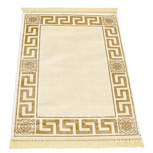 Belle Arti Möbel & Accessoires Mäander Teppich K-Seide Meander Medusa Carpet mit Versace Muster (160 x 230 cm, Beige)