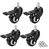 1.5' Threaded Stem Casters with Brake, Heavy Duty Swivel Caster Wheels with M8x25 Threaded Stem and Nuts for Shopping Carts, Trolley, Workbench, Furniture (Pack of 4) (Black) (1.5 inch)