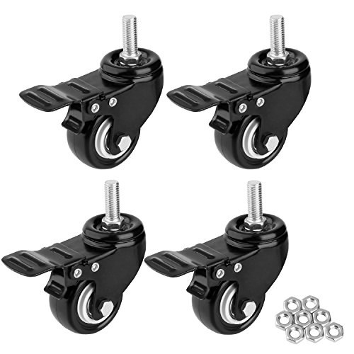 """1.5"""" Threaded Stem Casters with Brake, Heavy Duty Swivel Caster Wheels with M8x25 Threaded Stem and Nuts for Shopping Carts, Trolley, Workbench, Furniture (Pack of 4) (Black) (1.5 inch)"""