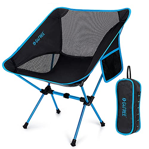 G4Free Upgraded Lightweight Portable Chair Outdoor Folding Camping Chairs with Side Pocket for Sports Picnic Beach Hiking Fishing Backpacking (Blue)