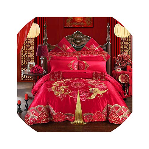 4Pcs Red Wedding Embroidery Luxury Bedding Set King Queen Size Royal Palace Bed Set Duvet Cover Bed Sheet Pillowcases,1,Queen Size 4 Pieces