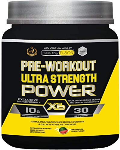 Pre-Entreno con Beta Alanina, L-Arginina AAKG, Creatina, Cafeína y Taurina | Incrementa el desarrollo Muscular | Estimula y mejora la resistencia física | Aumenta la fuerza | 300g. sabor sandía