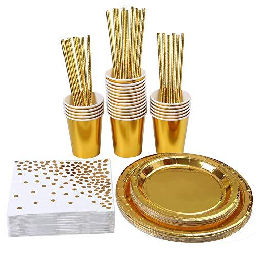 JEPODOR Suministros de fiesta Vajilla desechable Vajilla 146 piezas Platos de papel de aluminio tazas pajitas servilletas para cumpleaños, bodas, aniversario para 24 invitados (oro)