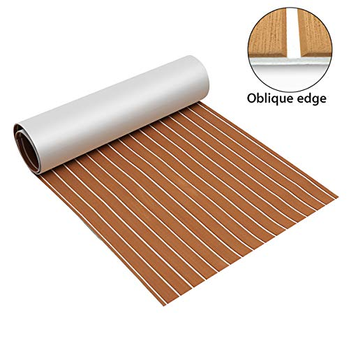 Zeeos EVA Foam Teak Decking Floor Sheet,Non-Skid-Self-Adhesive Flooring Synthetic Deck Marine Yacht RV Boat Flooring Mats,Teak with White line(94.5''x36'')