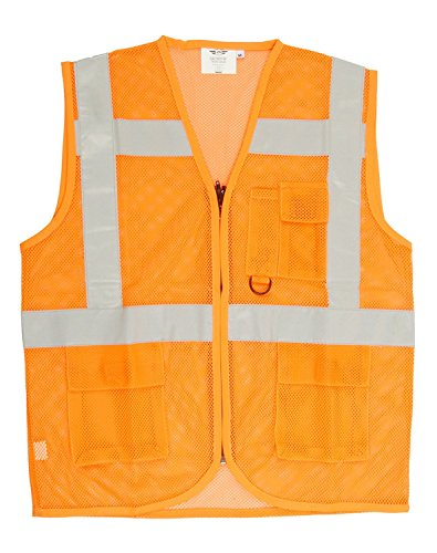 Club 21 Polyester Workwear Reflective Jacket with Extra Strip for High Visibility and Safety for Industrial Purpose (Orange, XXL)