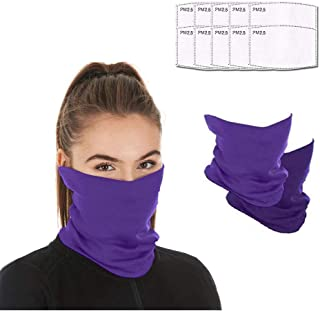 Face mask reusable with 10pcs Carbon Filters, Scarf Mask Neck Gaiter face mask, Washable Bandana face mask for Men Women