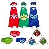 Yimidear Cosplay Disfraz Suministros para Fiesta Catboy Owlette Gekko Capa Máscara Pulsera y Conjuntos de Collar para Niños