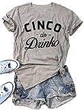 Cinco De Drinko Graphic Cute T Shirt Women's Letter Print Cinco De Mayo Tees Short Sleeve Casual Tops Size X-Large (Grey)