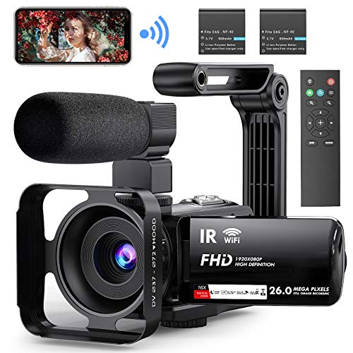 """Video Camera Camcorder WiFi YouTube Vlogging Camera FHD 1080P 30FPS 26MP 16X Digital Zoom IR Night Vision 3"""" Touch Screen Digital Video Recorder with Microphone, Stabilizer, 2.4G Remote, 2 Batteries"""