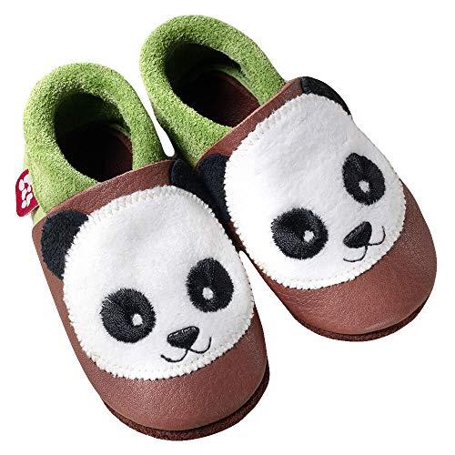 Pololo Panda Unisex-Kinder Flache Hausschuhe, Braun (Pistazie Brownie 613), EU 24/25