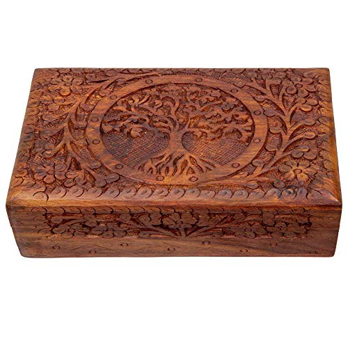 Artisans Of India Exotic Jewelry Storage Box Wood Trinket Keepsake Boxes Treasure Chest Holder Watch Storage Memory Coin Playing Cards Case Organizer Handcarved (Sheesham Wood)