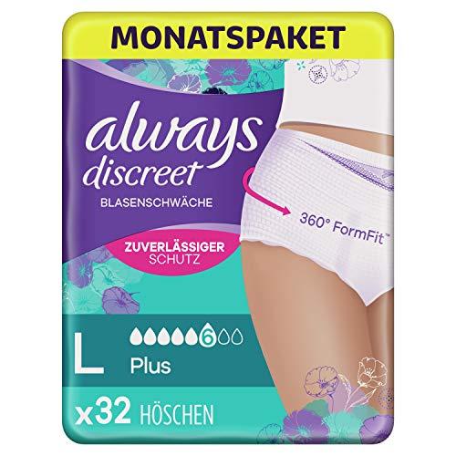 Always Discreet Inkontinenz-Höschen Plus Monatspaket bei Blasenschwäche, Größe L, 32 Höschen (4 Packungen x 8 Stück)