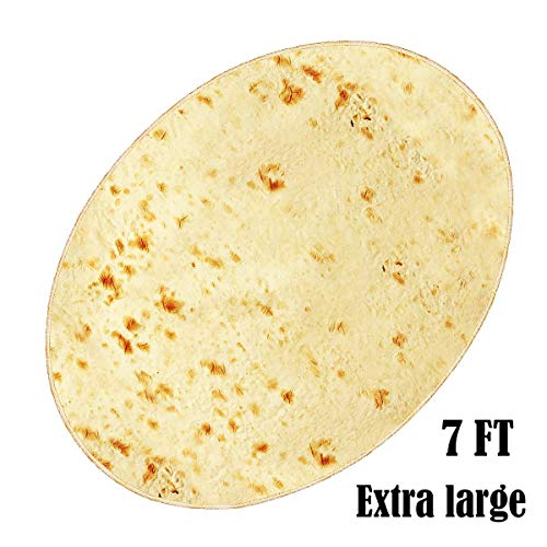 JEZWX Burritos Tortilla Blanket, Food Throw Blankets, Giant Round Beach Towels for Kids and Adults (7 FT)