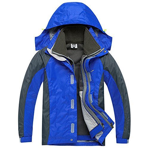 CHAO TA Enfants 3 en 1 Coupe-Vent Imperméable Respirant Manteau Outdoor Sport Escalade Camping Randonnée Veste (Medium, Bleu)