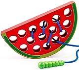 Fädelspiel für Kleinkinder - Holz Wassermelone Einfädeln Spielzeug Holzblock Puzzle Reise Spiel Frühes Lernen Feinmotorik Montessori Pädagogisches Geschenk