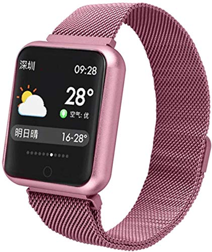 ZHENAO Smart Watch Sports Ip68 Smart Watch P68 Fitness Pulsera Actividad Tracker Monitor de Ritmo Cardíaco Presión Arterial para Ios Android-Pink Exquisito/Rosado