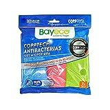 Bayeco - Bayeta Copptech Antibacterias - 100% Microfibra - Tecnología que elimina 99,9% de bacterias - Tres colores - Máxima limpieza solo con agua - Pack Multiusos 3 unidades