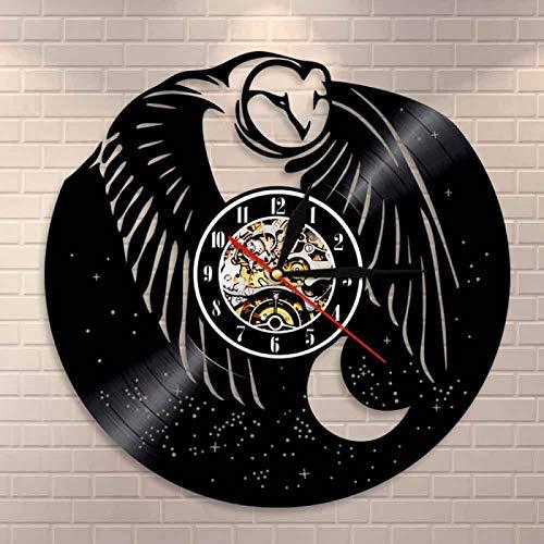 KEC Reloj de Pared con Registro de Vinilo de búho para bebé, Hermoso pájaro, Arte de Pared, búho, Reloj de Pared Moderno Decorativo, Arte de búho Nocturno, decoración del hogar, Regalo