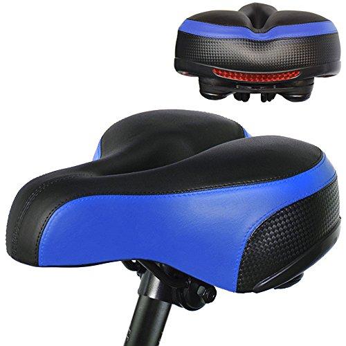 PULEN Sillín para Bicicleta Suave y Grueso Asiento Largo Cómodo de Bicicleta para Bici de Montaña Carretera Sillín con Reflector para Ciclismo Trekking Bike Seat Saddle/9 x 9.8 x 4.5 inch(Rojo)