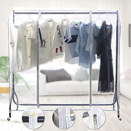Transparent Garment Rack Cover, Reusable Clothing Rack Cover, Large Capacity Clear PEVA Dustproof & Waterproof Clothes Protector for Home Bedroom CYYFZ01 (S: 47.2x20x52Inch)