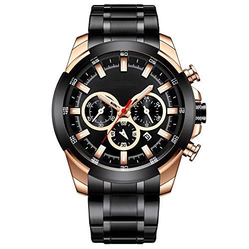 Eantpure Militar Deportivo Analógico,Reloj Impermeable, de Cuarzo, con Banda de Acero, Reloj de Calendario para Empresas-B,Fashion Business Watch