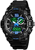 Mens Analog Digital Sports Watches Military Multifunction 3 Time Alarm Stopwatch Countdown 12H/24H Time Backlight 164FT 50M Waterproof Watch (E Blue)