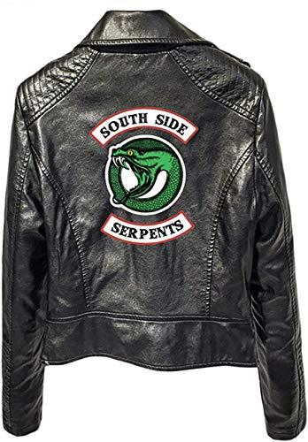 Duoyi EU Frauen Riverdale Southside Serpents Bikerjacke Kunstleder Slim Fit Kurze Motorradjacken Stil01 Schwarz01 Medium