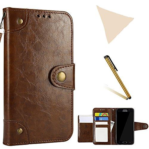 YFZYT Faltbarer Book Style Case mit Kreditkartenhaltern Handseil Geldtasche Magnetverschluss Freisprecheinrichtung Standfunktion Full Body Schutzhülle für Samsung Galaxy S6 Edge, Braun#1