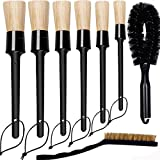 Car Detailing Brush Set Detail Brush, 6 Pack Boars Hair Auto Detailing Brushes Kit for Cleaning Car Automotive Interior Exterior, Vehicles Wheels Engine Console Dashboard, 1 Wheel Brush, 1 Wire Brush