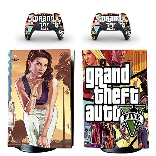 FENGLING Grand Theft Auto V GTA 5 Ps5 Digital Edition Hautaufkleber Aufkleber Abdeckung für Playstation 5 Konsole und Controller Ps5 Hautaufkleber