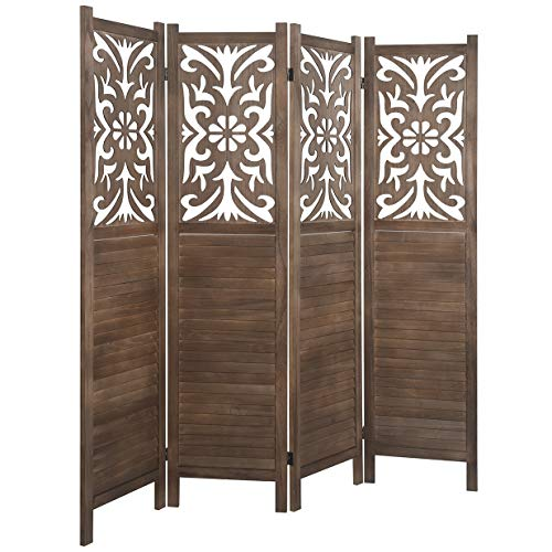 Rose Home Fashion RHF 5.6 ft. Tall- Cutout Room Divider,Double Hinged, Folding Room Dividers,Panel Screen, Room Dividers and Folding Privacy Screens, Freestanding,(4 Panel,Brown)