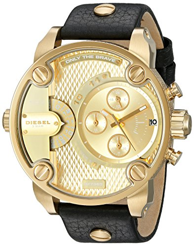 Diesel Men's DZ7363 Little Daddy Gold Black Leather Watch