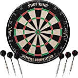 Viper Shot King Regulation Bristle Steel Tip Dartboard Set with Staple-Free Bullseye, Metal Radial Spider Wire, High-Grade Compressed Sisal Board with Rotating Number Ring, Includes 6 Steel Tip Darts