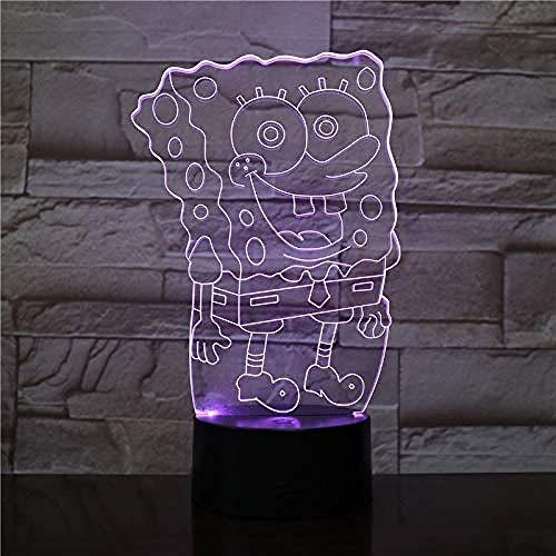 7 Farben Tisch Schreibtischlampen Harge 3D SpongeBob Schwammkopf Acryl LED Nachtlicht Lumingifts für Jungen und Mädchen