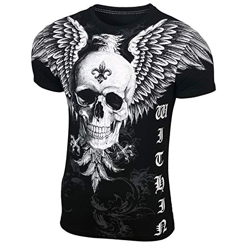 Herren Rundhals T-Shirt mit Motiv Kurzarm Slim Fit Design Fashion Top Print Shirt, Größe:S, Farbe:Schwarz_1908