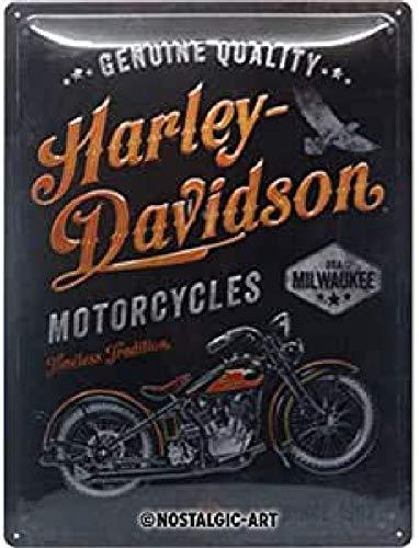 Nostalgic-Art Cartel de chapa retro Harley-Davidson – Tradition – Idea de regalo para los fans de las motos, metálico, Diseño vintage, 30 x 40 cm