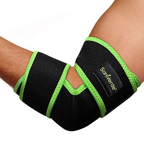 SaniVerde® Ellenbogenbandage mit Klettverschluss I Ellenbogen Bandage für Tennisarm und Golferarm I Ellbogen Bandagen Damen und Herren, Armbandage