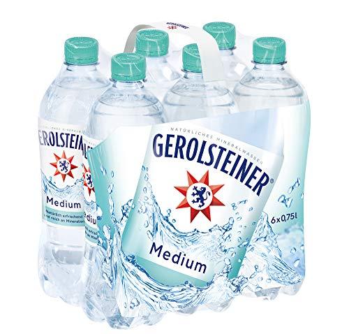 Gerolsteiner Medium/Natürliches Mineralwasser mit wenig Kohlensäure und wertvollem Calcium und Magnesium/6 x 0,75 L PET Einweg Flaschen