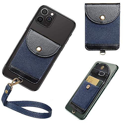 COCASES - Funda de piel sintética para teléfono, funda de piel sintética con tarjetero, bolsillo con correa de mano desmontable compatible con iPhone, Android y la mayoría de smartphones (azul)