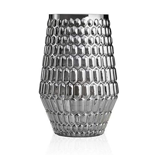 Pauleen Crystal Sparkle Tischleuchte max. 20W Tischlampe für E14 Lampen Nachttischlampe Anthrazit Grau 230V Glas ohne Leuchtmittel 48002