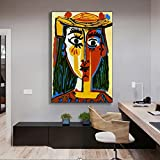 CAPTIVATE HEART Impresión sobre lienzo, 60 x 80 cm, sin marco, cuadros famosos Picasso Mujer con Sombrero, arte al óleo para sala de estar, pared, póster para decoración del hogar