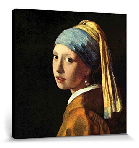 1art1 Johannes Vermeer - Das Mädchen Mit Dem Perlenohrring, 1665 Bilder Leinwand-Bild Auf Keilrahmen   XXL-Wandbild Poster Kunstdruck Als Leinwandbild 40 x 40 cm