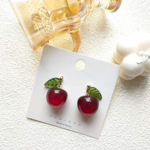 SALAN Pendiente De Botón De Oreja De Cereza Roja Vino Vintage para Mujer Niña, Pendiente De Tachuela De Fruta Transparente Encantador, Joyería, Regalo De Fiesta