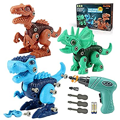 Kids Toys Stem Dinosaur Toy: Take Apart Dinosaur Toys for kids 3-5  Learning Educational Building construction Sets with Electric Drill  Birthday Gifts for Toddlers Boys Girls Age 3 4 5 6 7 8 Year Old by SHANTOU CITY KONGLONGDAO TOYS FACTORY