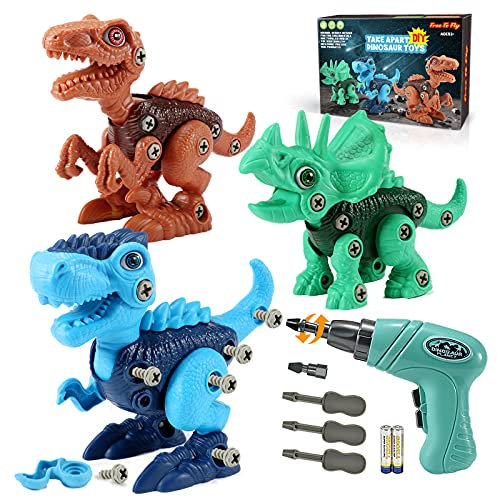 Kids Toys Stem Dinosaur Toy: Take Apart Dinosaur Toys for kids 3-5| Learning Educational Building construction Sets with Electric Drill| Birthday Gifts for Toddlers Boys Girls Age 3 4 5 6 7 8 Year Old