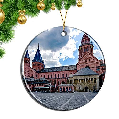 Hqiyaols Ornament Deutschland Mainzer Dom Weihnachten Ornamente Hängende Verzierung Keramik Souvenir Stadt Reise Geschenk Baum Tür Fenster Decke Zierschmuck Deko