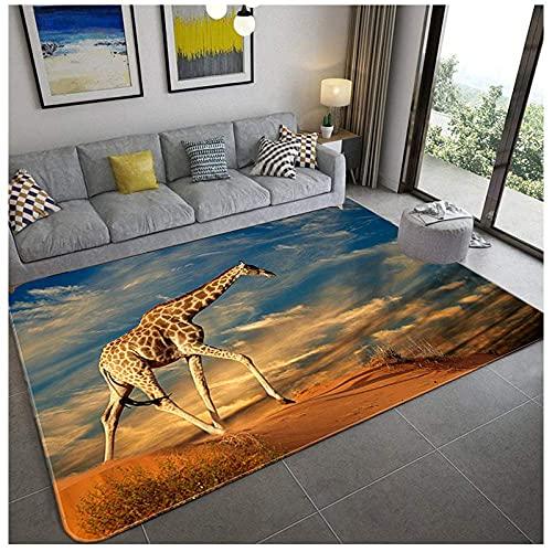 Carpet Rug,3D Digital Print,Giraffe Under The Animal Sky,Graphic Carpet For Living Room Bedroom Sofa Mat Door Mat Kitchen Bathroom Mat Carpet Bath Mats For Home Decoration,120(H)X170(W)Cm