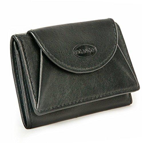 Branco 105, Kleine Geldbörse / Mini Portemonnaie Größe XS aus Leder, für Damen und Herren, Schwarz